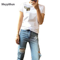 New Arrival Summer 2018 Women S Bee Embroidered Mercerized Cotton T Shirt 171125MM02
