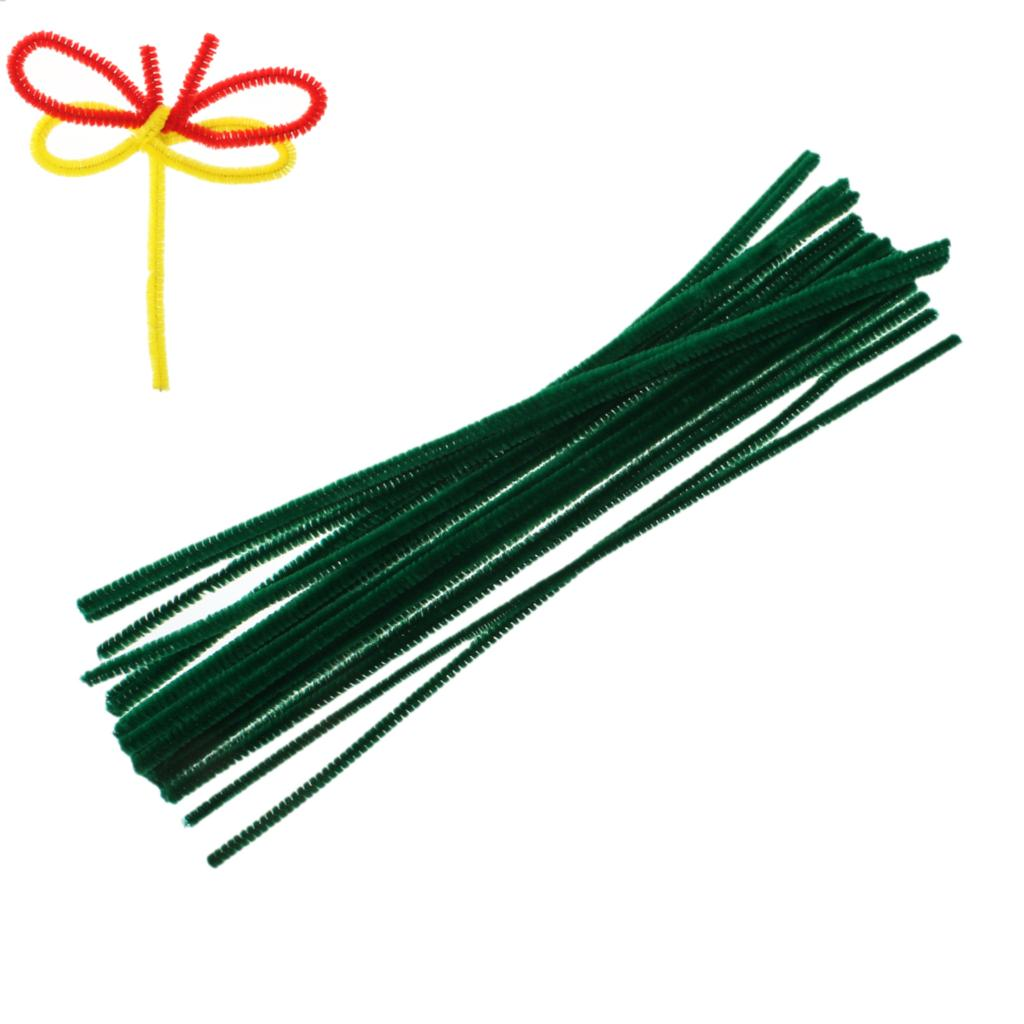 Long wooden craft sticks - Terylene Chenille Stick Pipe Cleaner Craft Diy Making Christmas Dark Green 30cm Long 2 Bundles
