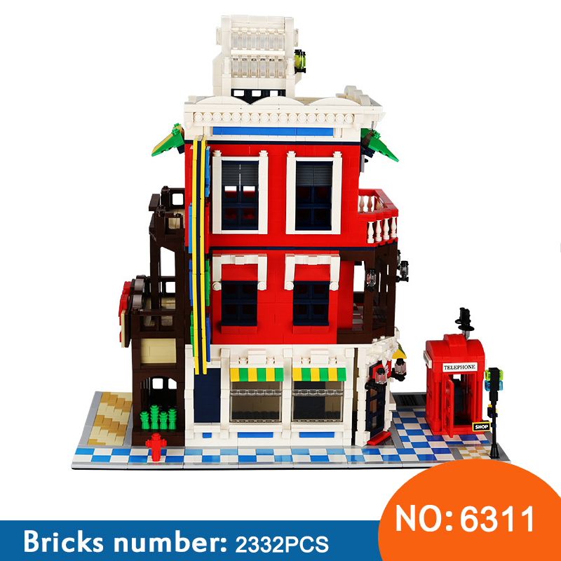 Wange New 6311 2332pcs Street View Series Corner Store education DIY Building Blocks Bricks assembly Toys For Children world famous architecture 1977pcs wange blocks golden gate bridge model building bricks set diy assembly toys for children 8023
