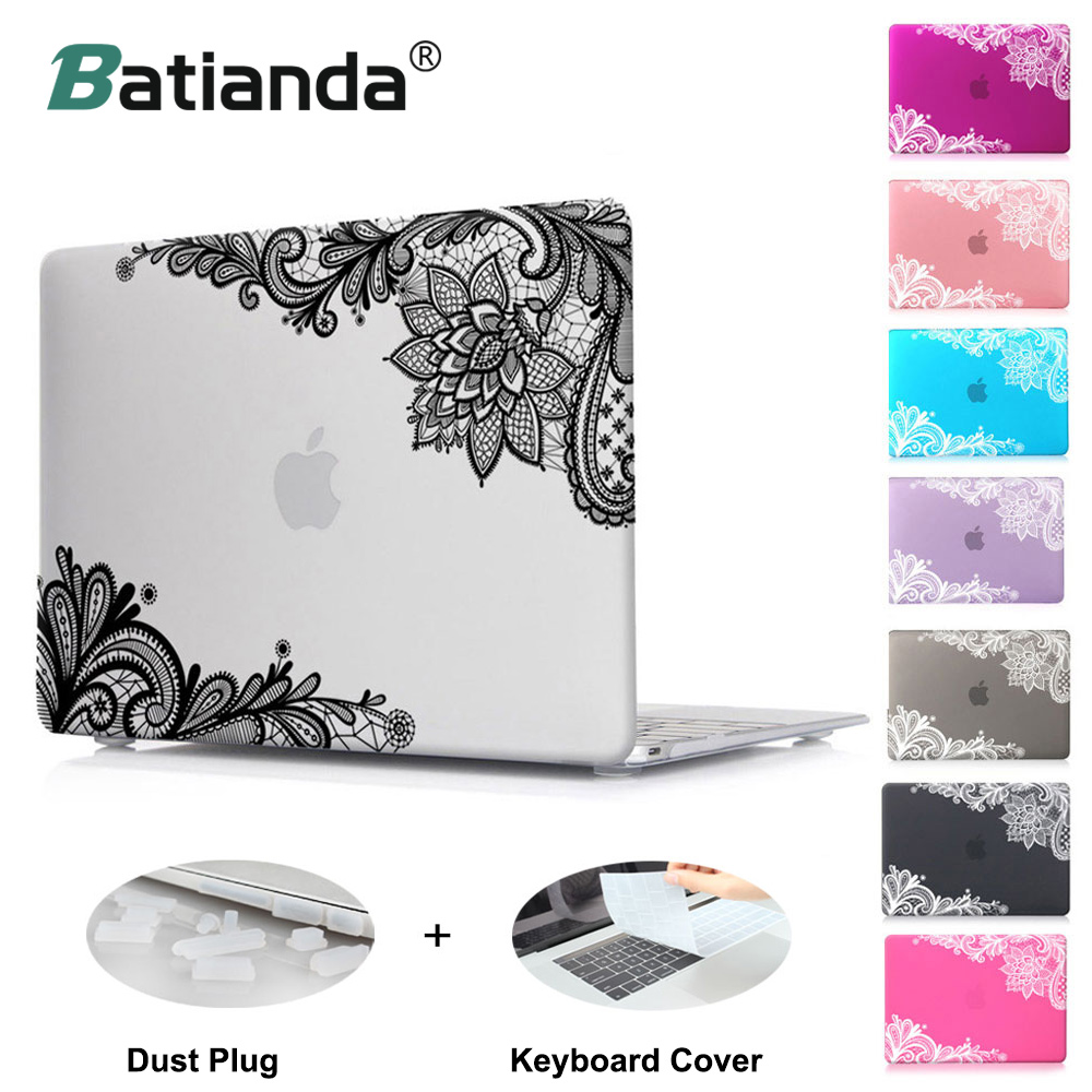Batianda Floral Lace Air 11 12 13 Pro 13 15 Frosted Matte Hard Case Cover for MacBook Pro 13.3 15.4'' Retina 2016 2017 A1706