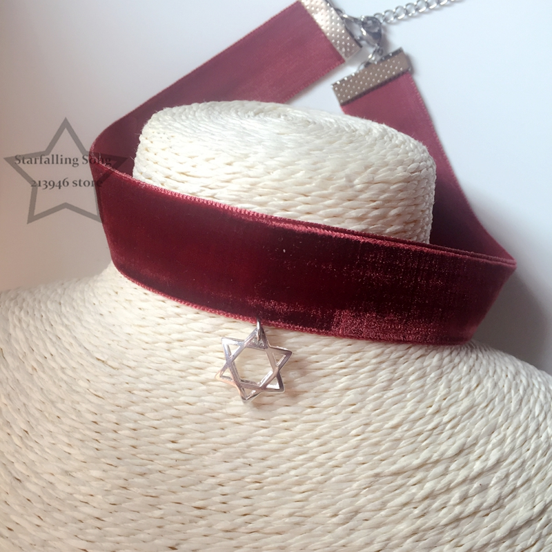 Handmade 925 Sterling Silver Star Charm 2CM Wine Red Imitation Wool Ribbon Jewelry Choker Necklaces