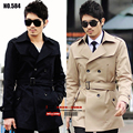 HOT !! Free shipping 2014 spring casual outerwear belt double breasted slim medium-long men trench coat clothing / S-XXXL