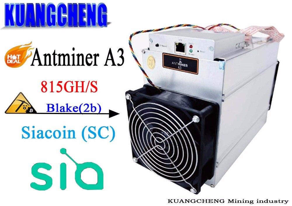 MüHsam Kuangcheng Bergbau Bitmain Antminer A3 815gh/s 1275 Watt Auf Wand Blake (2b) Algorithmus Siacoin Bergbau Maschine Miner 48 Stunden Liefern