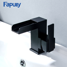 Fapully Black Basin Bathroom Sink Faucet Waterfall Single Hole Handle Vessel Brass ORB Hot Cold Mixer Tap