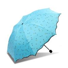 Four-color Flower Sun Umbrella Protection UV Folding Dual-use Black Plastic Three-fold