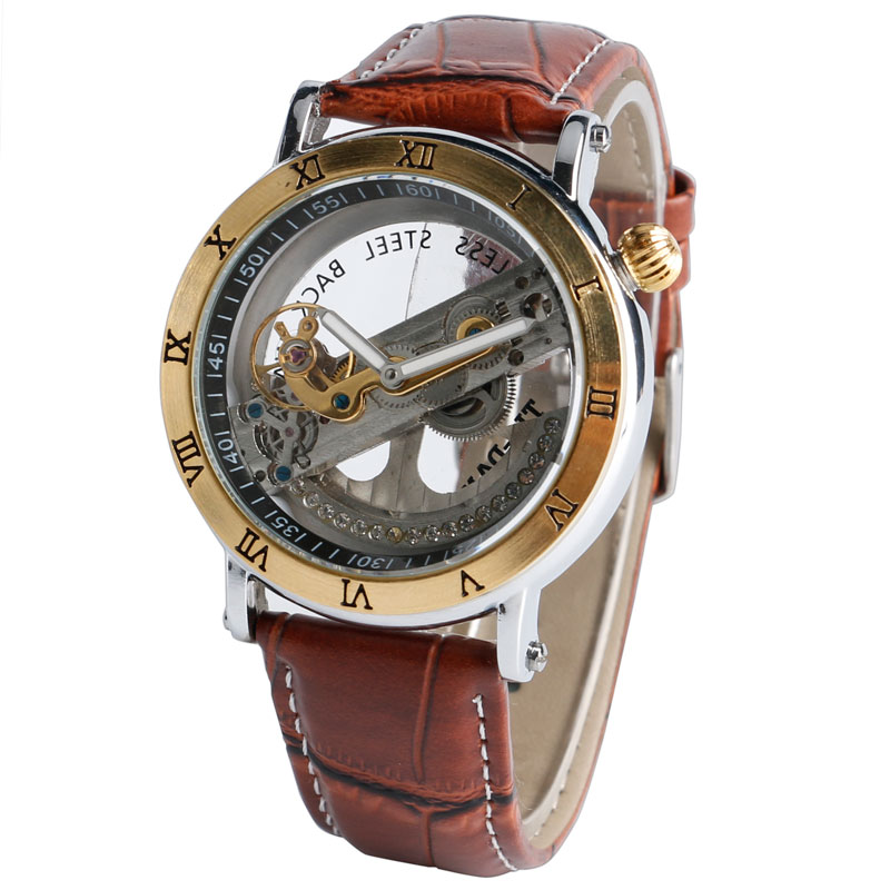 Fashion Men Watches Gold Roman Numbers Dial Transparnat Watches Mechanical Self-winding Clock Male Gift full hunter smooth cooper pocket watch skeleton roman numbers dial mechanical automatic fob hour antique gift for men women