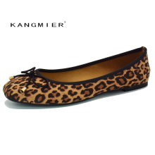 52d7d2c5ba shoes women suede Leopard ballet flat shoes square toe bowtie slip on  KANGMIER comfortable autumn ballerina
