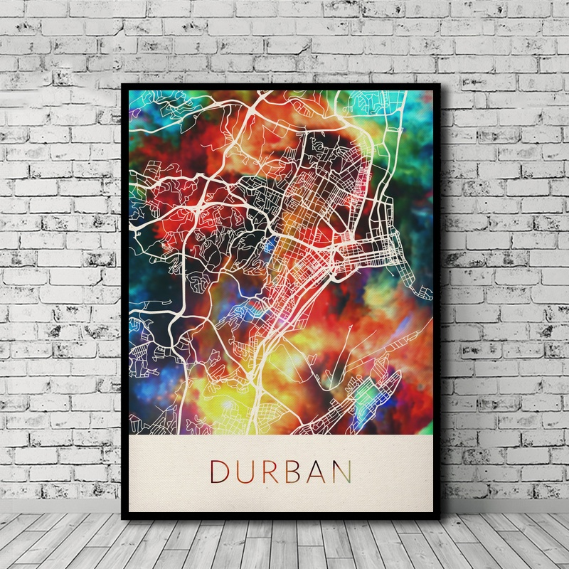 <font><b>Durban</b></font> South Africa Watercolor City Map Poster Nordic Style Canvas Print Home Decor No Frame image