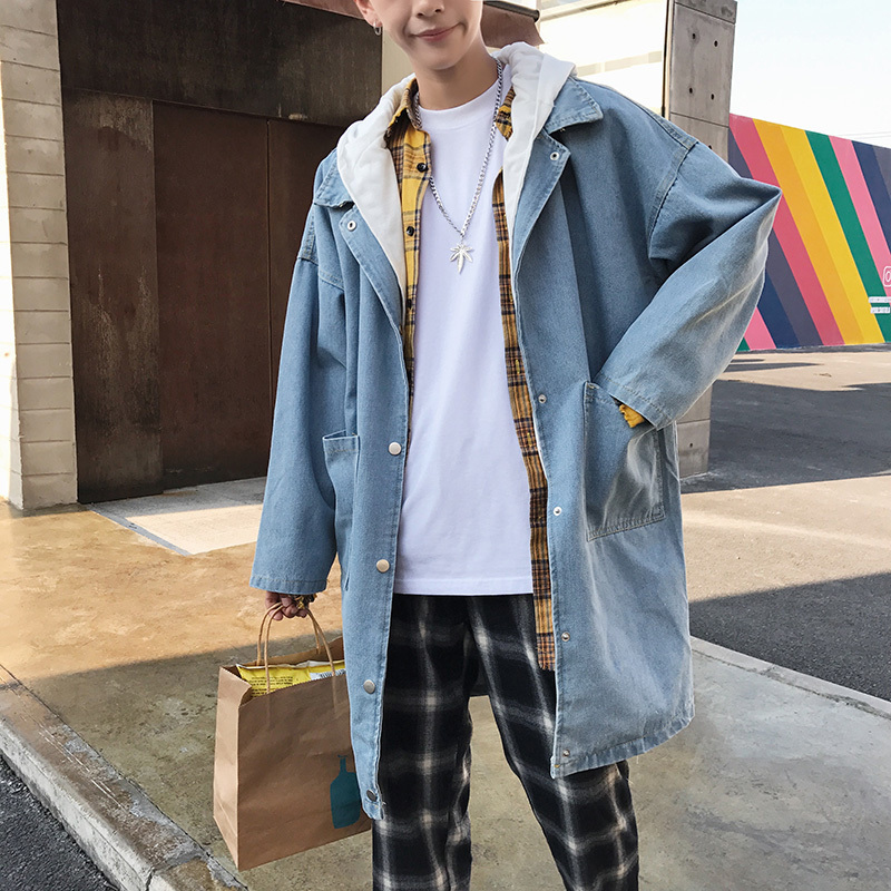 Fashion Casual Men's Denim Trench Coat Spring And Autumn New M Xl Hooded Loose Shirt Jacket Blue Personality Youth Popular