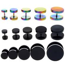 Wholesale 40Pcs/lot Stainless Steel Ear Plugs Tunnels Piercing Body Jewelry Gold Fake Expander Plugs&Tunnel Black