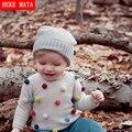 De punto Para Niñas Invierno 2016 Ocasional Dulce Niños de la Cachemira Chaqueta de Punto Para Niños de Manga Larga Del O-cuello Suéteres de Los Niños