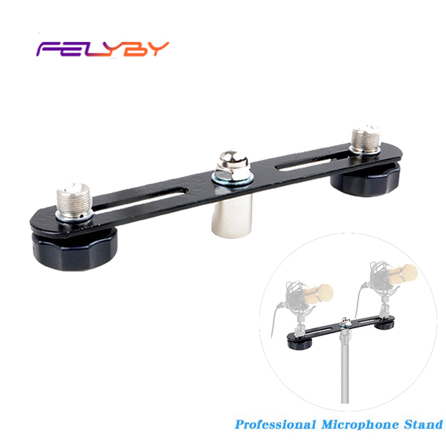 FELYBY Mikrofon Bar Dual Mic Halter Mikrofon Stereo Bar Schwarz T Bar Halterung Mit Doppel Mikrofon Halterungen