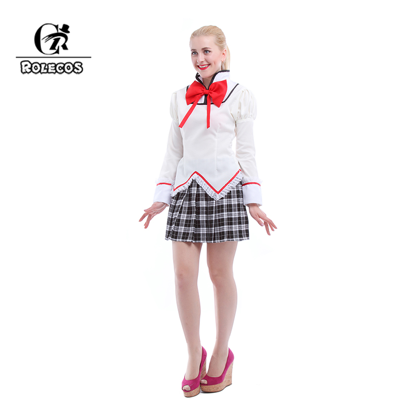 ROLECOS Customized Anime Puella Magi Madoka Magica Kaname Madoka Cosplay Costumes Outfit Girl Cosplay Clothes Qute Girl Clothes