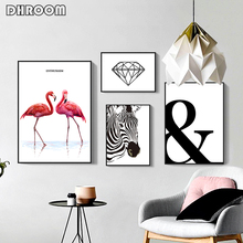 Modern Minimalist Canvas Painting Animal Flamingo Zebra Poster Prints Wall Art Nordic Decorative Painting for Living Room