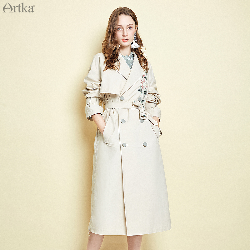 ARTKA 2019 Spring Women Trench Solid Color Button Floral A-line Coat Loose Fashion Best Slim Waist Jacket FA10098C
