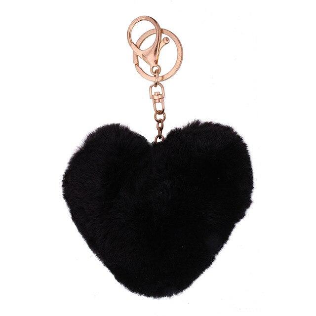 Macio bonito pêssego coração chaveiro bola de pêlo pompom adorável rosa pêlo de animal chaveiro saco chave do carro bolsa para lady mulher presentes da menina