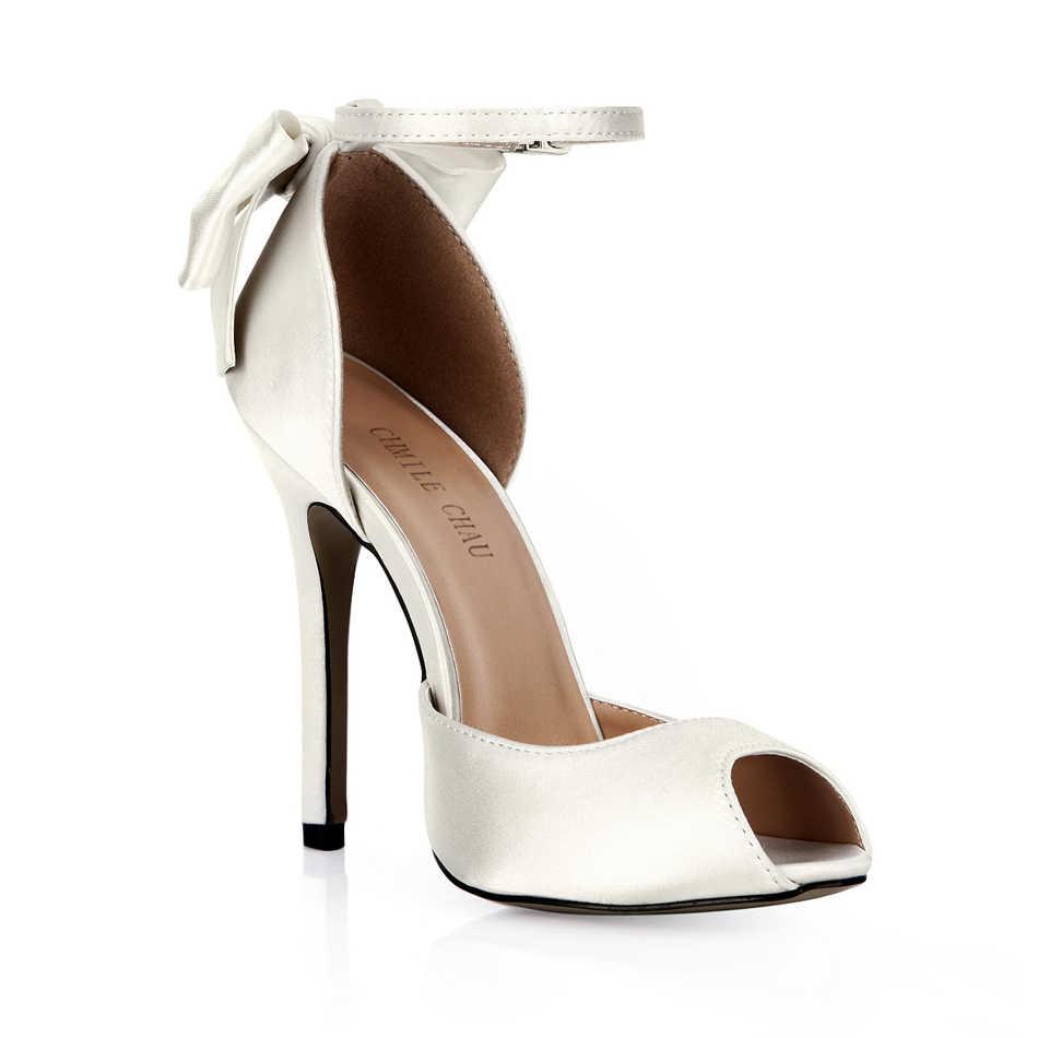 ac63760f9c1b ... CHMILE CHAU Ivory Satin Elegant Wedding Bridal Shoes Women Peep Toe  Stiletto High Heel Ankle Strap ...
