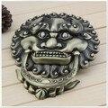 Estilo chinês antigo batedor pega bronze cabeça de leão grande leão Keeper agitar porta mãos pequena alça