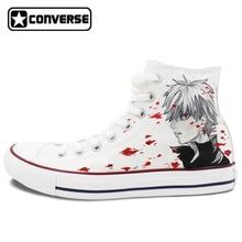 Converse chuck taylor mujeres hombres zapatos anime tokio ghouls diseño personalizado pintado a mano zapatos del top del alto zapatillas blancas cosplay regalos
