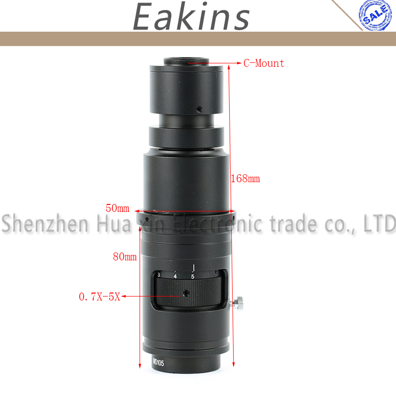 16X 160X Adjustable Magnification 25mm Zoom C mount Lens 0 7X 5X For Industry Video Microscope