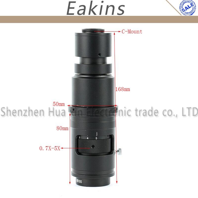 16X-160X Réglable Grossissement 25mm Zoom c-mount Objectif 0.7X ~ 5X Pour L'industrie Vidéo Microscope Caméra Distance de Travail 110-170mm