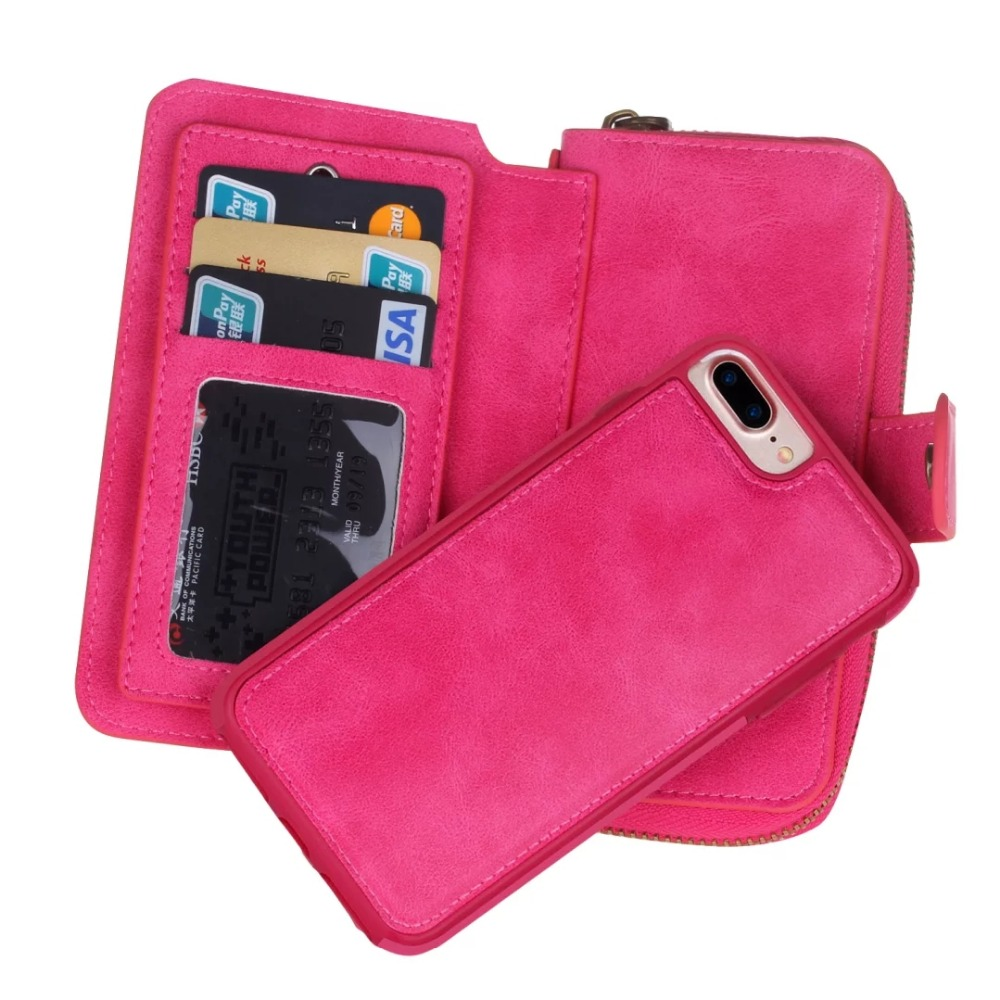 Removable Vintage Leather Multifunction Wallet Phone Case For Iphone 5,5s,SE,6,6S,6Plus,7,7Plus Purse Pouch Lady Handbag Cover