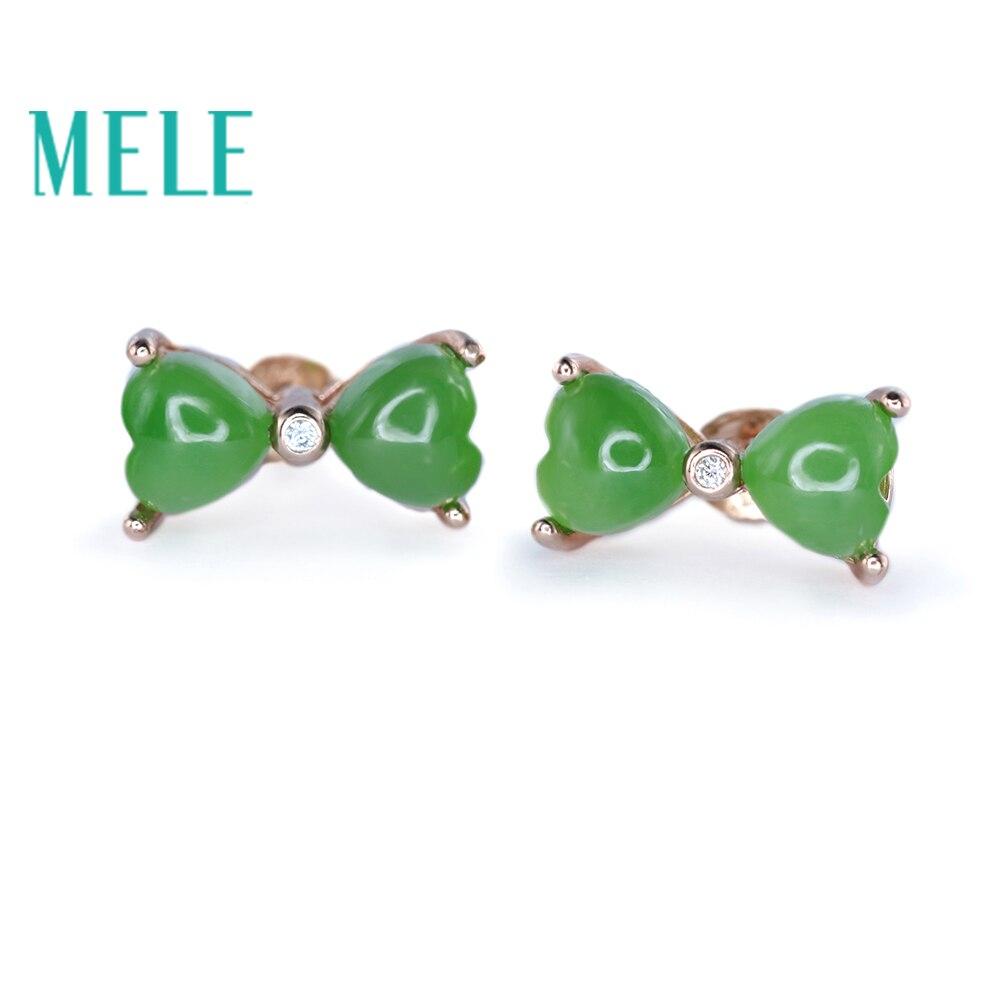 Boucles d'oreilles en jaspe vert naturel pour femmes et filles en argent sterling 925, forme bowknot et bijoux en jade à la mode