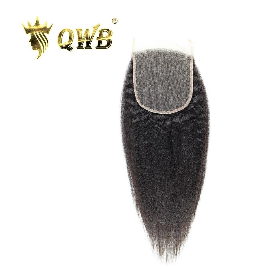 QWB 女王織り美容送料無料 5 × 5 変態ストレート 12 ''/14 ''/16 ''/ 18 'ブラジルのバージンヘアライトブラウンレース閉鎖  グループ上の ヘアエクステンション & ウィッグ からの クロージャー の中 1