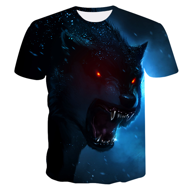 Novelty 3D men wolf t-shirt Cool wolf Printed t shirts summer 3D Short Sleeve Glow in the Dark T-shirts good quality 4