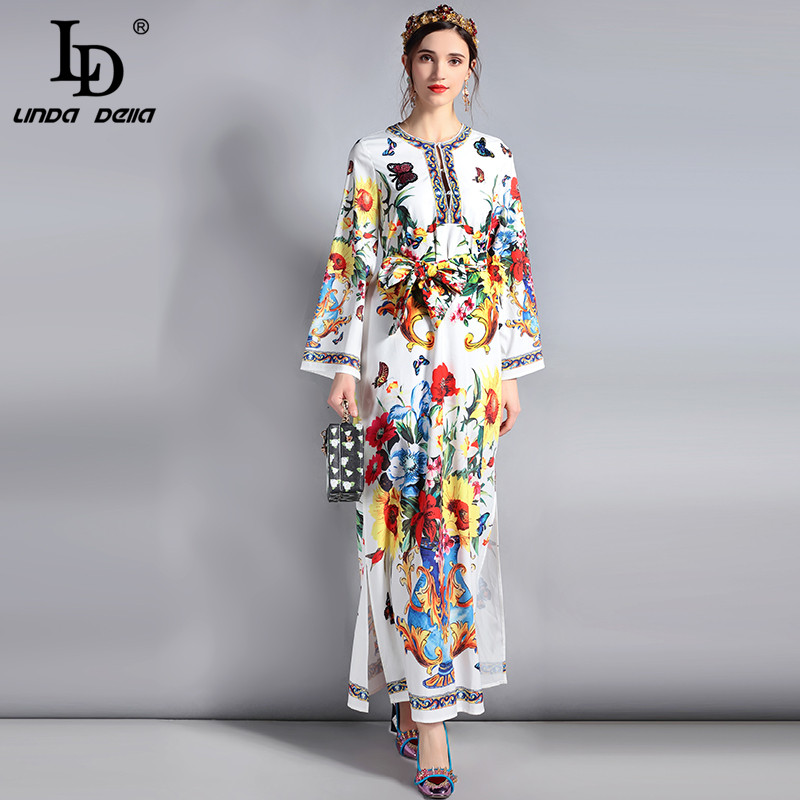 LD LINDA DELLA New 2018 Fashion Designer Runway Maxi Dress Womens Long Sleeve Side Split Belt Floral Print Casual Long Dress
