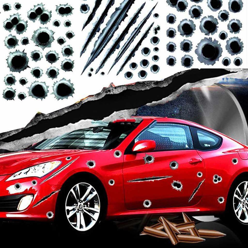1 Uds pegatinas de coche 3D bala agujero divertido calcomanía cubiertas de coche rasguño de motocicleta realista bala agujero impermeable pegatinas 90717