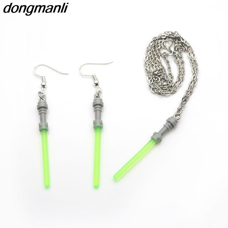 P1185 Dongmanli ожерелье и серьги набор модные очаровательные Висячие серьги для женщин Звездные войны световой меч Креативный дизайн