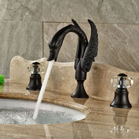 Newly Euro Style Bathroom Swan Basin Faucet Mixer Tap Dual Handles Oil Rubbed Bronze Vessel Sink