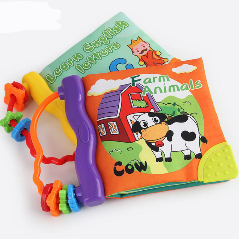 Baby Fabric Cloth Books Animals Words Fruit Education Cartoon Book Kids Early Learning Children Soft Cloth Book With Teether Toy