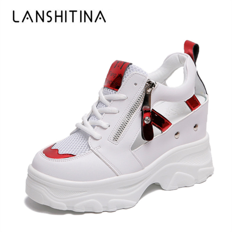 2019 Summer Women Sandals Mesh Breathable Woman Casual Summer Shoes High Platform Trainers White Shoes 9CM Heels Wedges Sandals2019 Summer Women Sandals Mesh Breathable Woman Casual Summer Shoes High Platform Trainers White Shoes 9CM Heels Wedges Sandals