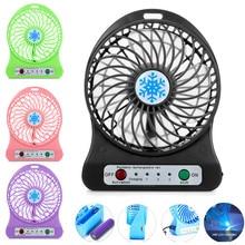 Portable Rechargeable LED Light Fan Air Cooler Mini Desk USB 18650 Battery M7.2
