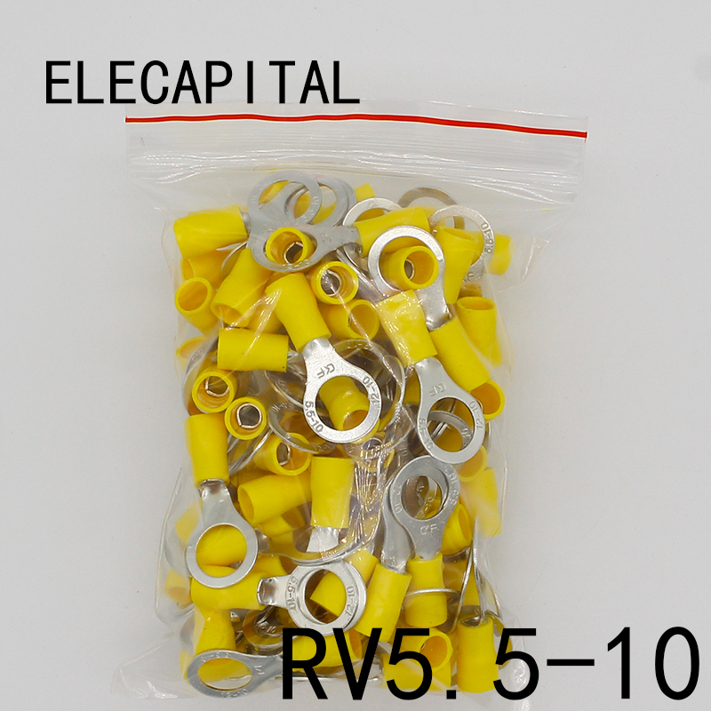 цена на RV5.5-10 Yellow Ring insulated terminal suit 4-6mm2 Cable Wire Connector 50PCS/Pack cable Crimp Terminal RV5-10 RV