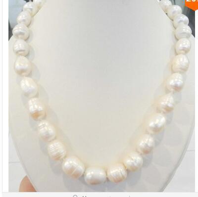 eda86050ce7f Forma arroz grande 11 10mm blanco real perla collar AAA fábrica precio al  por mayor mujeres regalo palabra joyas en Collares de cadena de Joyería y  ...
