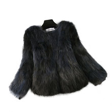 New Stylish Women Fashion Casual Short Genuine Raccoon Fur Coats Female Slim Nine Quater Sleeves O Neck Real