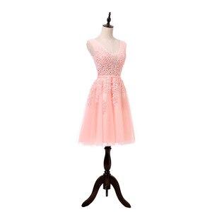 Image 5 - מכירה לוהטת מסיבת קוקטייל שמלות קצר Vestido דה Festa מיני סקסי אפליקציות שמלת V צוואר ואגלי פנינים