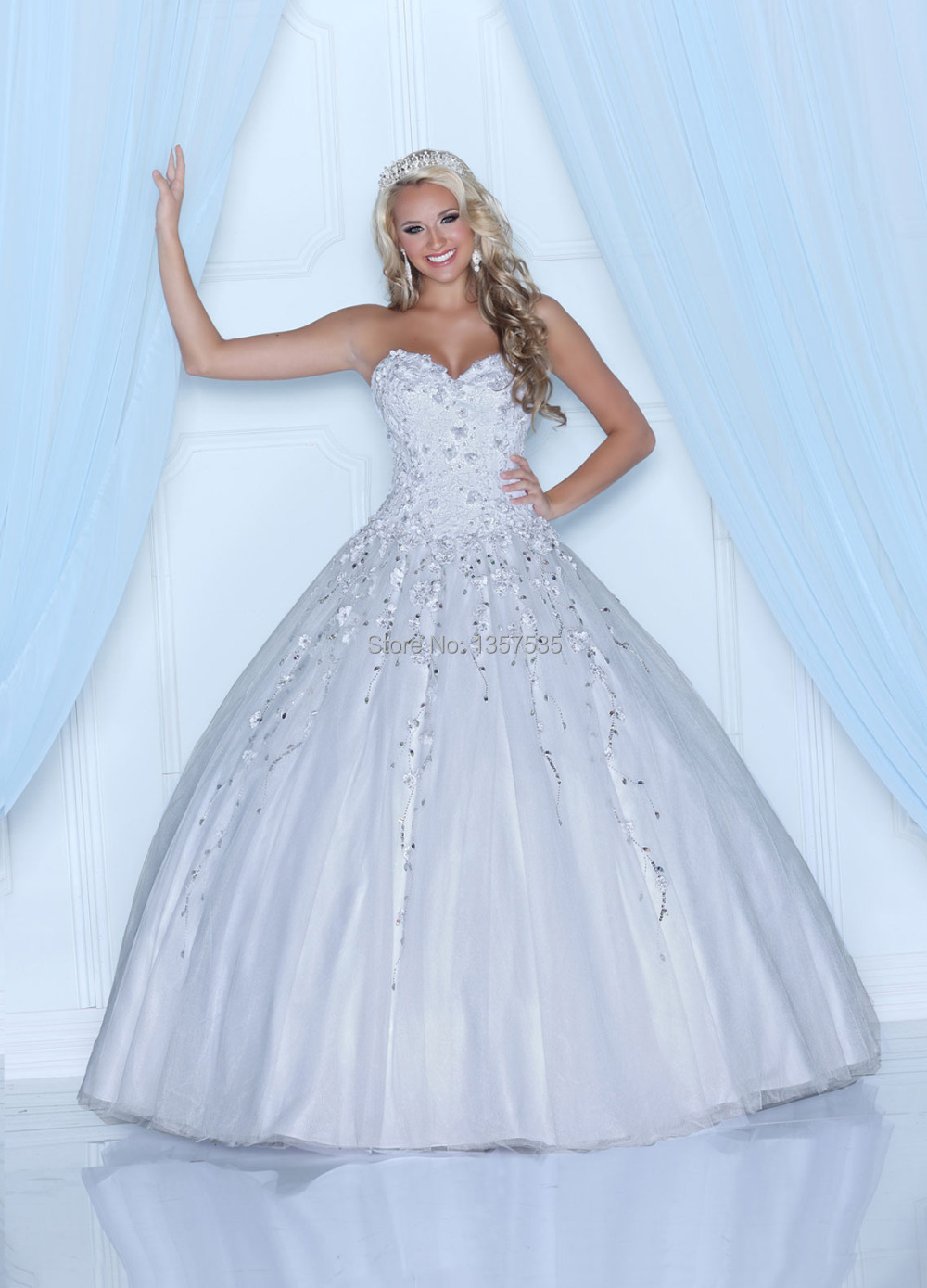 New Fashion 2014 White Quinceanera Dresses Ball Gown Beading ...