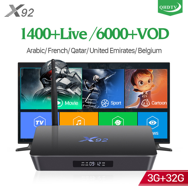 X92 Android 7.1 3GB 32GB IPTV Box 4K HD Stable QHDTV IPTV abonnement 1400 canal 6000 VOD Europe Italia belgique français TV Box