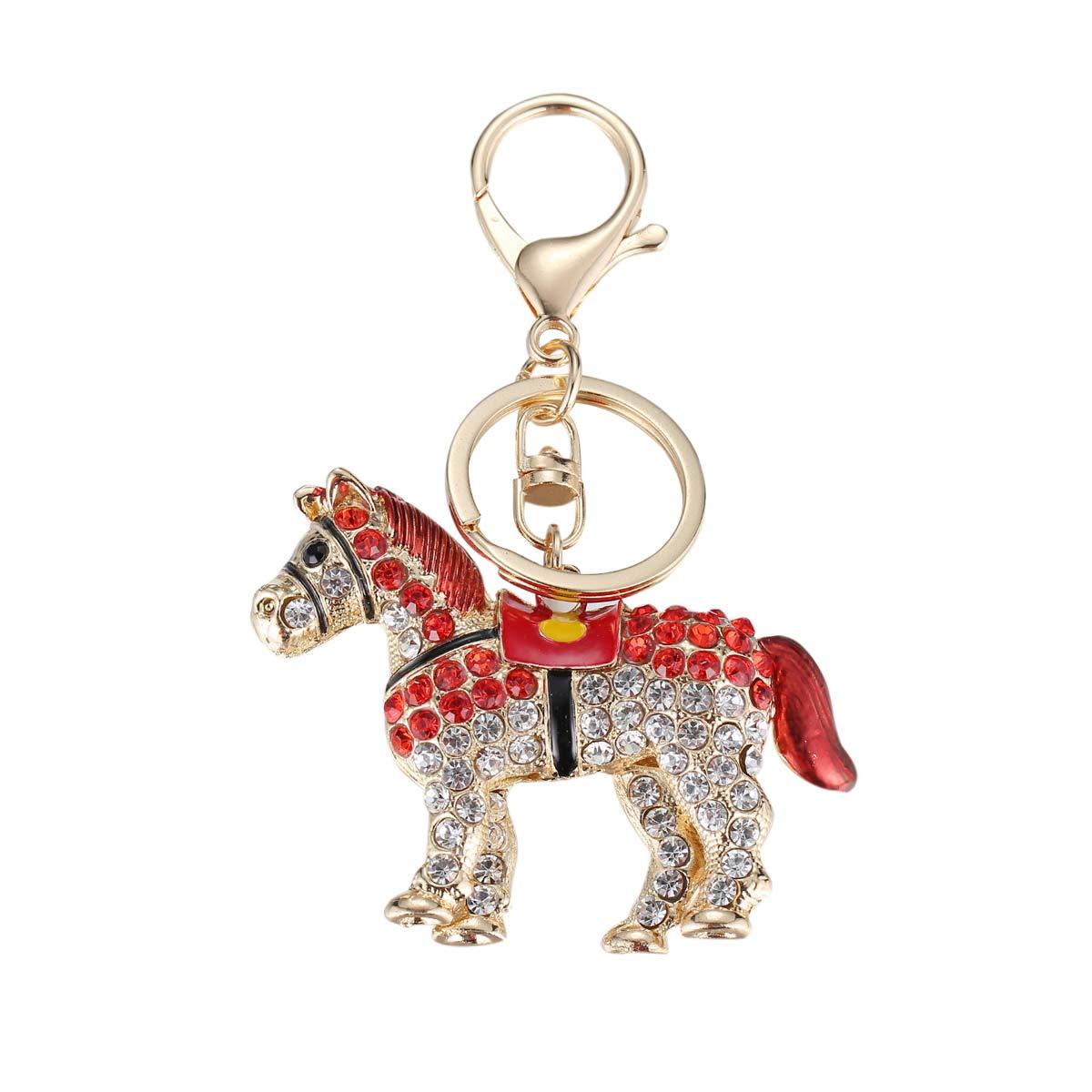 Unique Rhinestone Horse Alloy Key Chain Car Keys Holder HandBag Pendant Keyring Keychain Cute font b