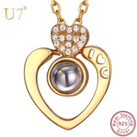 U7 925 Sterling Silver Nano Personalized Name Necklace 100 languages I LOVE YOU Pendants Necklaces for Mother's Day Gifts SC258