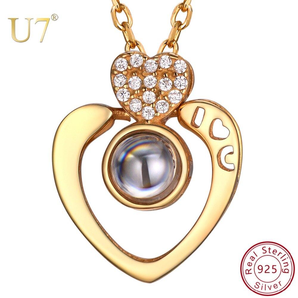 U7 925 argent Sterling Nano nom personnalisé collier 100 langues je t'aime pendentifs colliers pour cadeaux fête des mères SC258