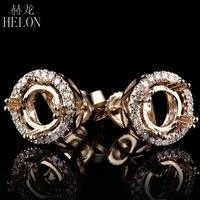 HELON 5 6.75mm Round Semi Mount Engagement Wedding Stud Earring Solid 10K Yellow Gold Lady Diamonds Vintage Classic Fine Earring