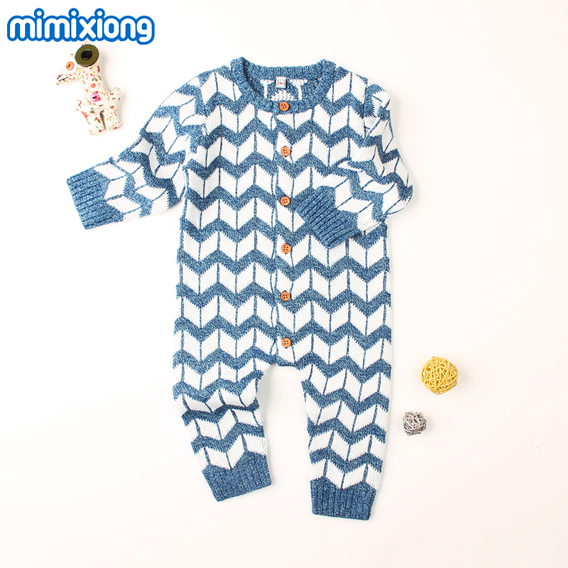 все цены на Newborn Baby Boy Girl Romper Onesie Stripe Knitted Long Sleeve Infant Jumpsuits Spring Toddler Coverall Button Up Overalls 0-24M