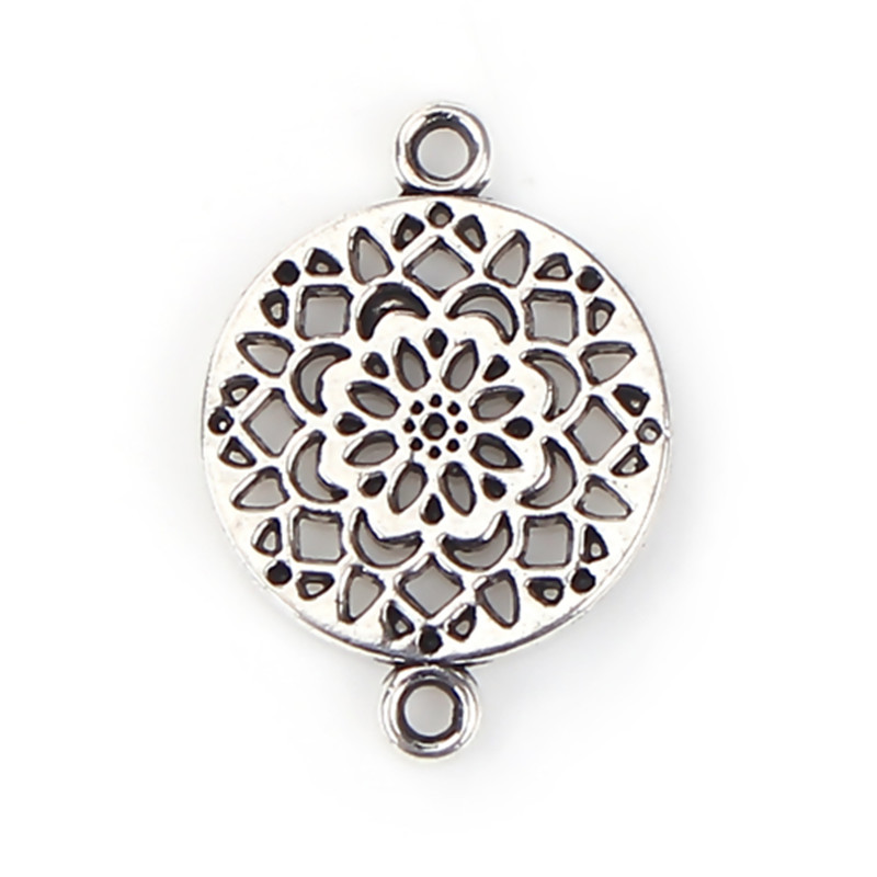 DoreenBeads Zinc Based Alloy Connectors Round Antique Silver Flower Charms DIY Components 20mm( 6/8