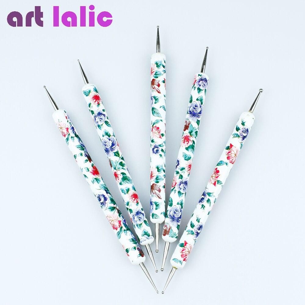 5 шт./компл. 2-полосная Цветочная печать Дизайн ногтей точечные инструменты набор точек крутящийся мраморный лак для рисования ручка для диз...