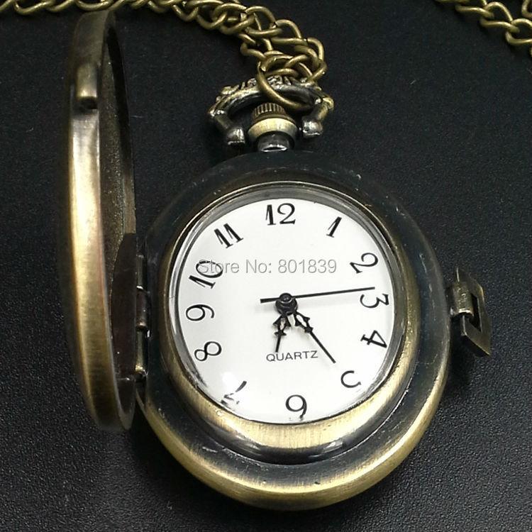 Bronze Tone Ladies Women Vintage Style Oval Quartz Pocket Watch Necklace Chain New Nice Xmas Gift Wholesale Price H129